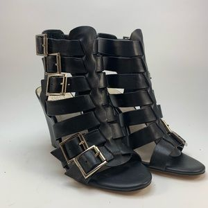 Vince Camuto Black Strappy Wedge with Buckles